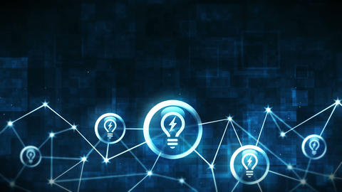 Creativity space with light bulb icons floating. Connection structure. Business solution idea and Animation