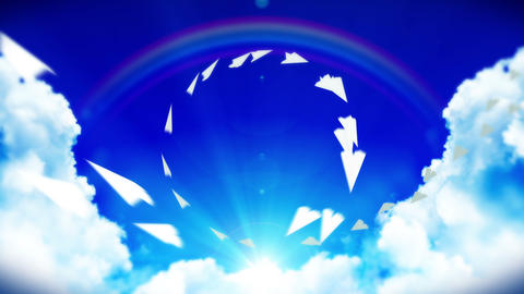 Animation of flowing white paper plane on blue sky with clouds and rainbow. Business or innovation Animation