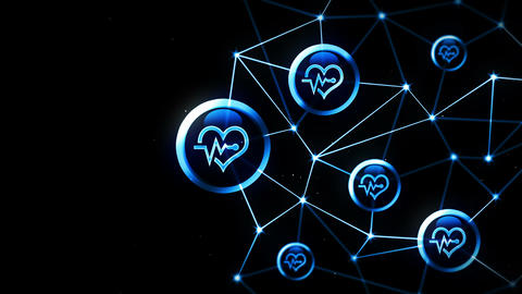 Heart with a heart beat icons floating. Electro Cardiogram. ECG. Communication connection. Heart CG動画