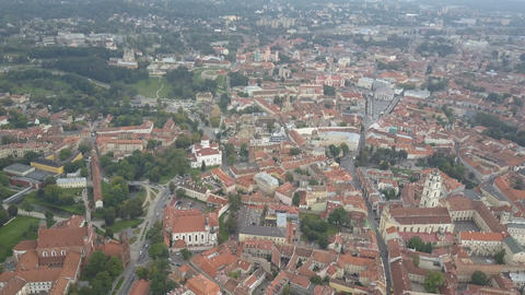 Beautiful Aerial view of the old town of Vilnius, the capital of Lithuania Live Action
