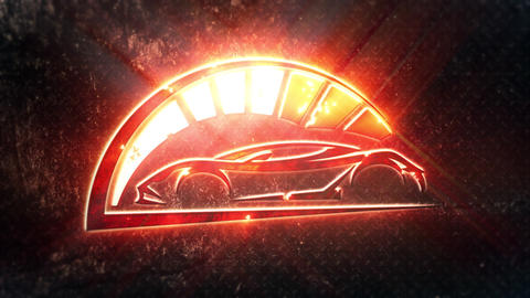 Red Sport Car Intro Logo with Reveal Effect Background CG動画