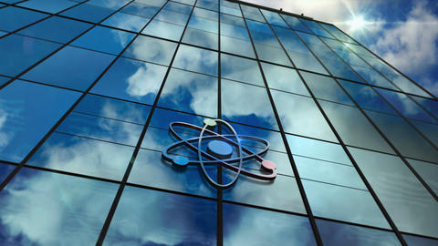 Atom symbol glass skyscraper with mirrored sky loop animation Animation