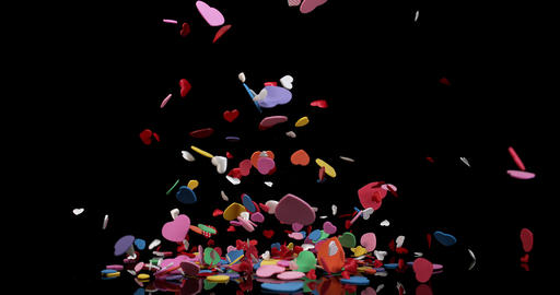 Hearts for Valentine's Day Party Exploding on Black…, Live Action
