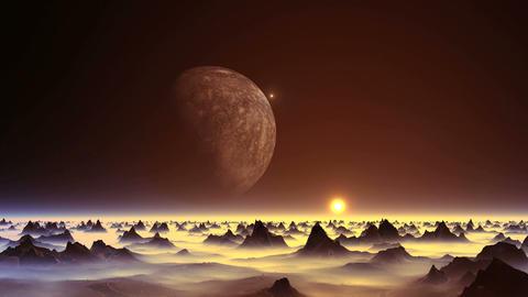 UFO over an Alien Planet Videos animados