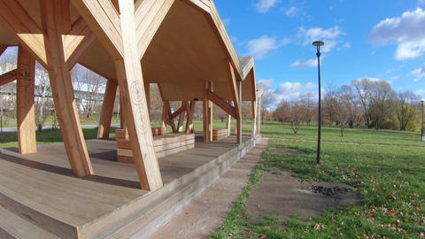 Wooden gazebo for relaxing Footage