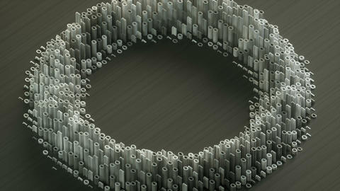 Circular waves formed by white binary digits on a grey background isometric view Animation