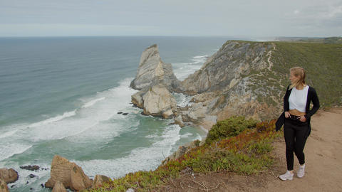 Wonderful landscape of Cabo da Roca in Portugal at the Atlantic Ocean Live Action