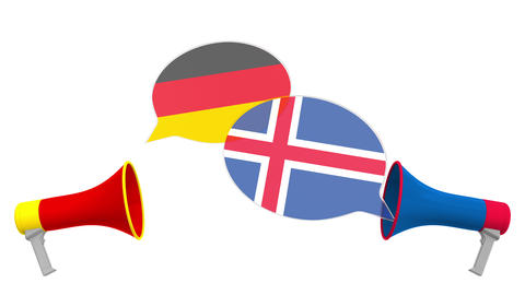 Speech bubbles with flags of Iceland and Germany. Intercultural dialogue or Live Action