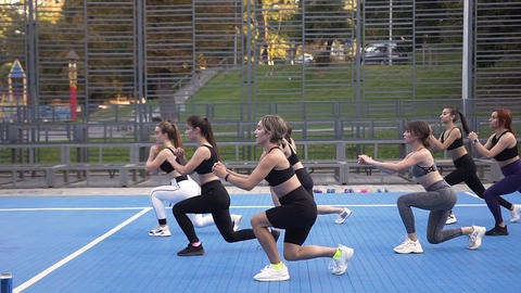 Pleasant lean sporty women doing squat exercises during their fitness workout Footage