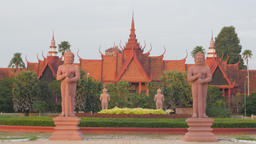 National Museum with statues in morning,Phnom Penh,Cambodia Footage