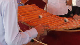 Roneat ek xylophone being played at Dorngkeur Shrine,Phnom Penh,Cambodia Footage