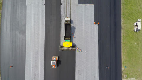 Aerial view of asphalt product - Top View Footage