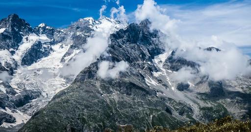 4K, Time Lapse, Cloud Formation At Col Du Lautaret, France - Cold Version, Pan Live Action