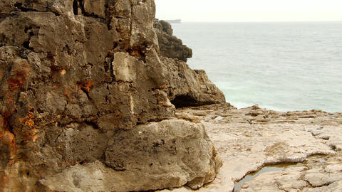 Rocky coast of Boca do Inferno at the Atlantic Ocean in Portugal Live Action