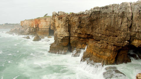 Famous landmark in Portugal - Boca Do Inferno at the Atlantic ocean Live Action