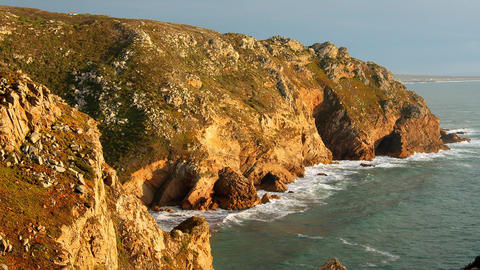 Wonderful place in Portugal - Cabo Da Roca at the Atlantic ocean coast - sunset Live Action