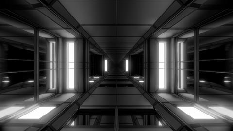 futuristic sci-fi hangar tunnel corridor with glass windows 3d illustration live Animation