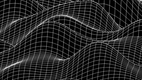 Curved morphing square grid black and white background loop Animation