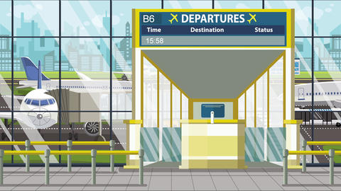 Flight to Helsinki on airport departure board. Trip to Finland loopable cartoon Footage