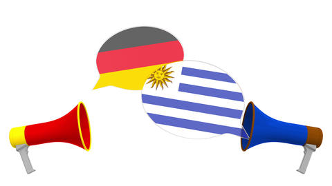 Flags of Uruguay and Germany on speech bubbles with loudspeakers. Intercultural Live Action