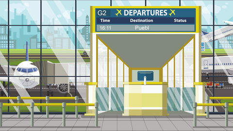 Flight to Puebla on airport departure board. Trip to Mexico loopable cartoon Footage