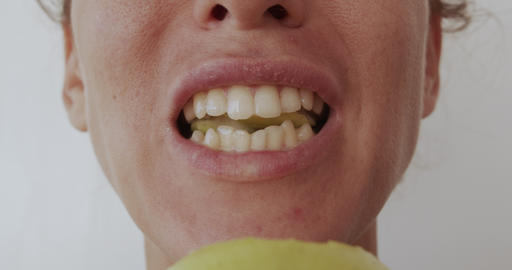 Woman eating apple, healthy eating, close-up lips Stock Video Footage