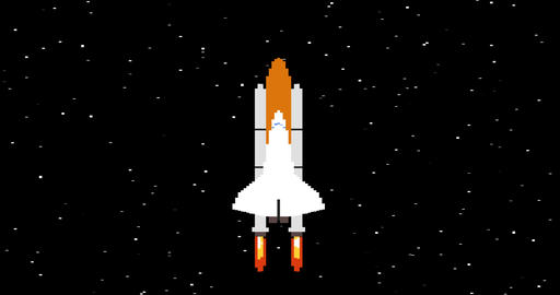 Shuttle in space pixel art looped animation Footage