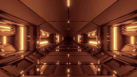 futuristic scifi technic space hangar tunnel corridor with glowing lights 3d Animation