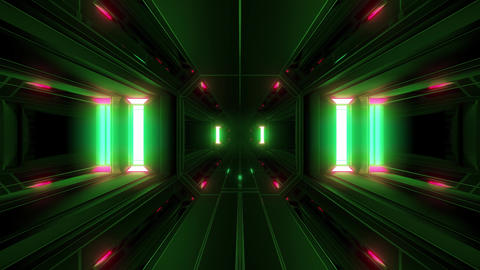 clean futuristic scifi space tunnel corridor with glowing lights 3d illustration Animation