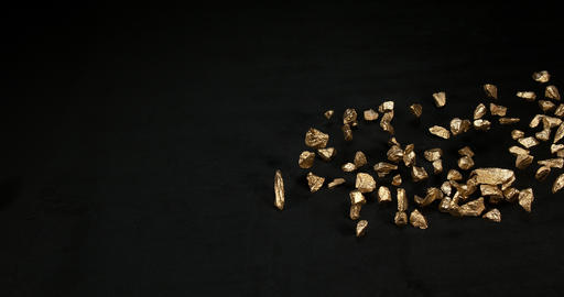 Gold Nuggets, Nugget, Falling on Black Background, Slow Motion 4K Footage