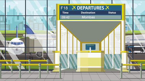 Flight to Mombasa on airport departure board. Trip to Kenya loopable cartoon Live Action