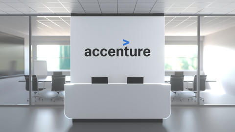 Logo of ACCENTURE on a wall in the modern office, editorial conceptual 3D Live Action