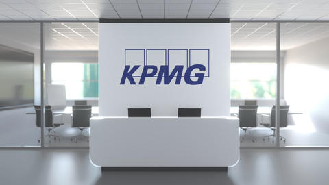 KPMG logo above reception desk in the modern office, editorial conceptual 3D Live Action