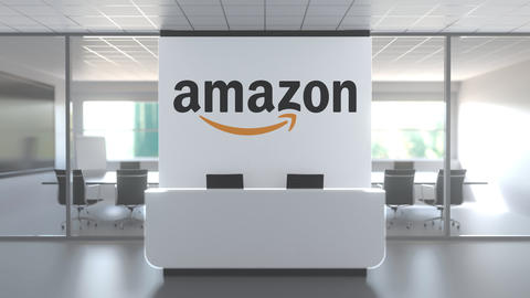 AMAZON logo above reception desk in the modern office, editorial conceptual 3D Live Action