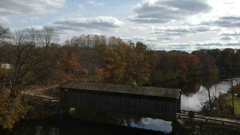 Old Fashioned Covered Bridge in Fall (Overhead View) #12 Live Action