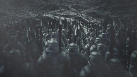 Medieval Warriors Standing in Front of Ocean Waves Archivo
