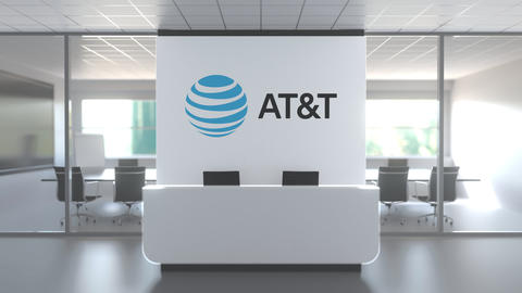 Logo of ATT on a wall in the modern office, editorial conceptual 3D animation Live Action