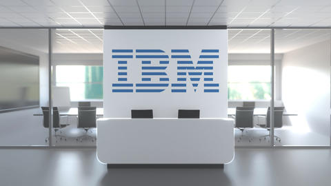 Logo of IBM on a wall in the modern office, editorial conceptual 3D animation Live Action