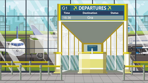 Flight to Graz on airport departure board. Trip to Austria loopable cartoon Live Action
