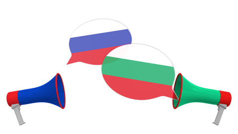 Speech bubbles with flags of Bulgaria and Russia. Intercultural dialogue or Live Action
