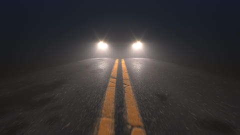 Car headlights pursuiting camera on a night road, seamless looped animation Live Action
