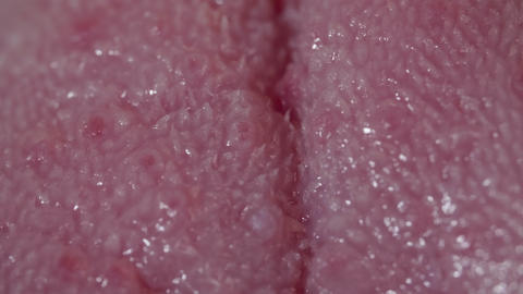 Healthy pink human tongue in macro Footage