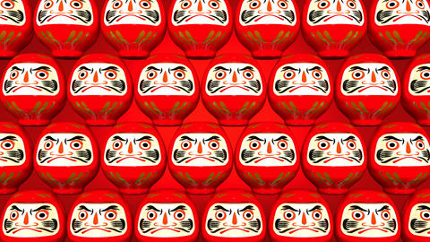 Stacking Red Lucky Daruma Dolls On Red Background Stock Video Footage