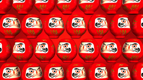 Spinning Red Daruma Dolls On Red Background Animation
