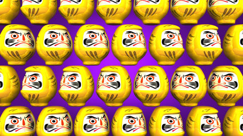 Spinning Yellow Daruma Dolls On Purple Background Videos animados