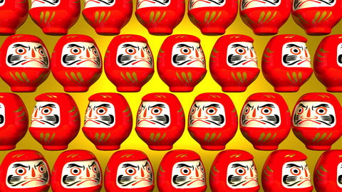 Spinning Red Daruma Dolls On Yellow Background Videos animados