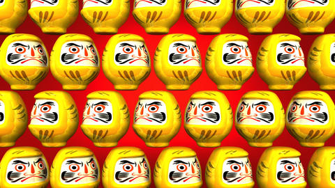 Spinning Yellow Daruma Dolls On Red Background Videos animados