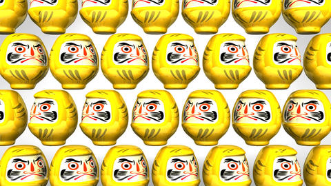 Spinning Yellow Daruma Dolls On White Background Videos animados