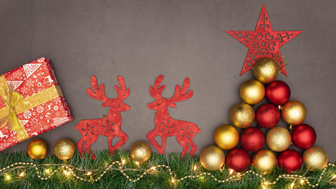 Beautiful Christmas decoration disappear from grey background - Stop motion Animation