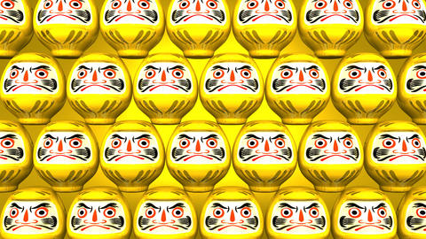 Stacking Yellow Lucky Daruma Dolls On Yellow Background Videos animados